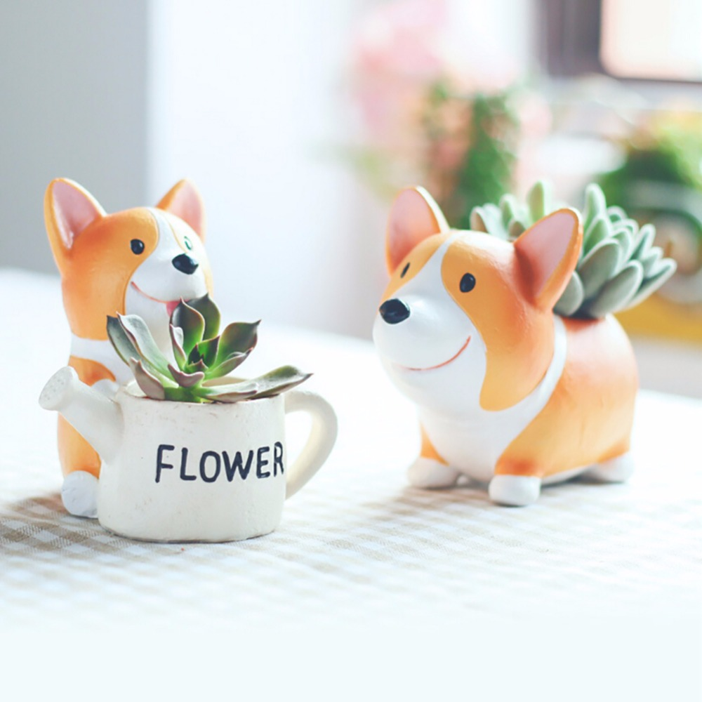 2017 Resin Small Flower Pot Planter Corgi Garden Plants Succulents Bonsai Potted Flowers Desk Garden Supplies L12