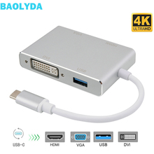 Baolyda USB C to HDMI 4K Adapter Thunderbolt 3 Hub USB 3.1 Type C to HDMI VGA DVI USB Multi Hub for MacBook/Pro Chromebook Pixel aiffect type c to vga adapter hub with dp port aluminum usb3 1 3 in 1 hub usb c for macbook chromebook pixel type c adapter