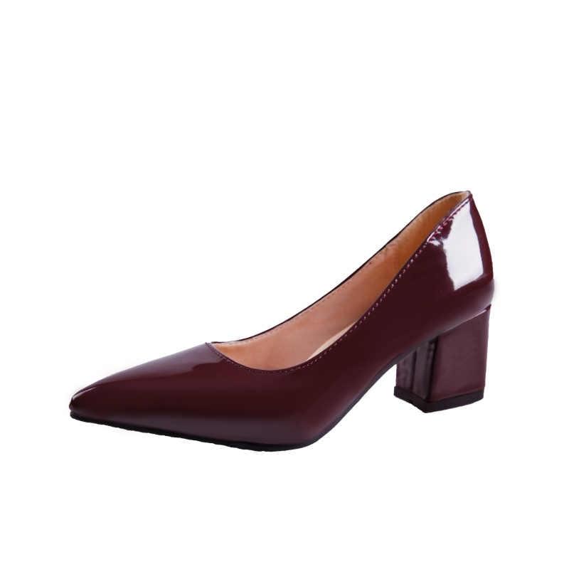 Cộng với Kích Thước 34-43 Phụ Nữ Ăn Mặc Giày Nhọn Toe Toe Vuông Gót Bơm Cao Gót Bơm Bằng Sáng Chế Phụ Nữ Da Giày zapatos mujer 6120