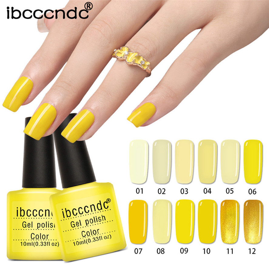 New Arrival Ibcccndc 1PC Women 10ML Yellow Gel Nail Polish