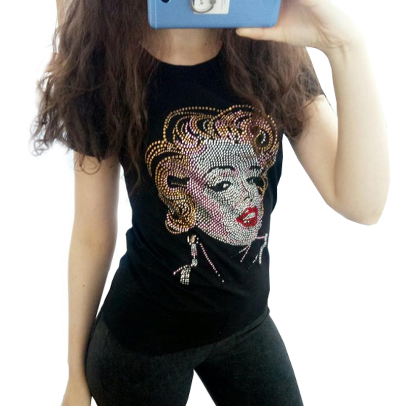 465ec411bc3 New Women short sleeve Marilyn Monroe Rhinestone T shirt Fashion crystal  blingbling women tops stretch women BTS shirt