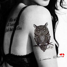 Temporary Tattoo Large Black Owl Tattoo Stickers Waterpoof Body Art On Arm Animal Personality