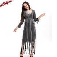 Women Halloween and Party cheap ragged gray mesh style zombie bridesmaid costume O collar style bride costume