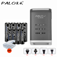 Hot 4 Slots Universal Fast Charger LCD Intelligent Battery Charger With 4pcs AA 4pcs AAA Rechargeable