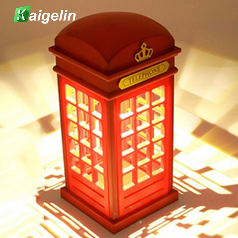 Novelty Desk Table Lamp Rechargeable Touch Telephone Booth LED Night Light Dimmable For Children Bedroom Decoration Lighting