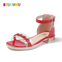 Летние сандалии для девочек принцесса обувь новые летние модные прозрачные кожаные сандалии для маленьких девочек детская обувь на высоком каблуке