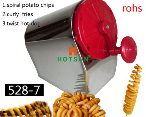 Free Shipping Stainless Steel Manual Spiral Potato Chips Curly Fries Twist Hot Dog Cutte ...