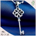 High Quality  Charming 100% 925 Sterling Silver Necklace Key Pendant