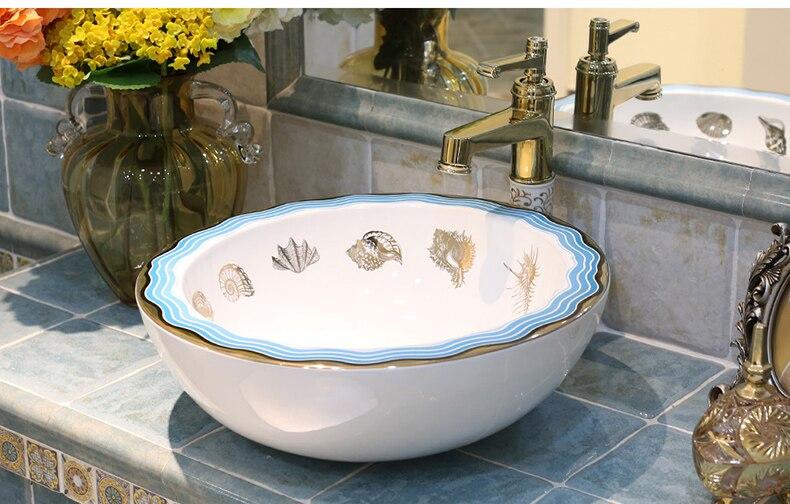 Badkamer Wasbak Kom : Ronde westerse antieke chinese keramische gekleurde badkamer