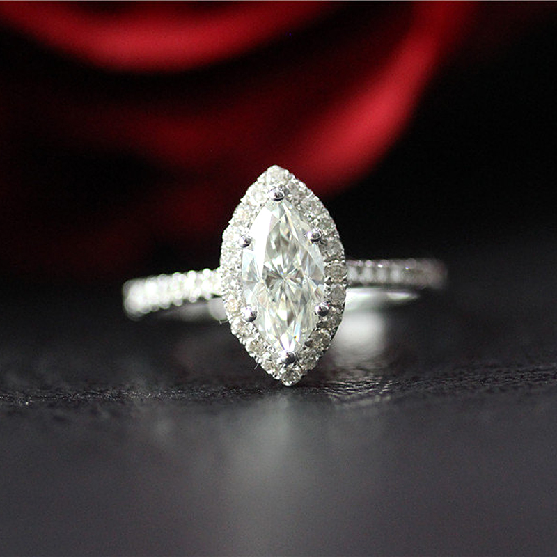 Halo Ring 4.5x9mm Marquise Cut Moissanite Engagement Ring Solid 14K White Gold Moissanite Ring For Women