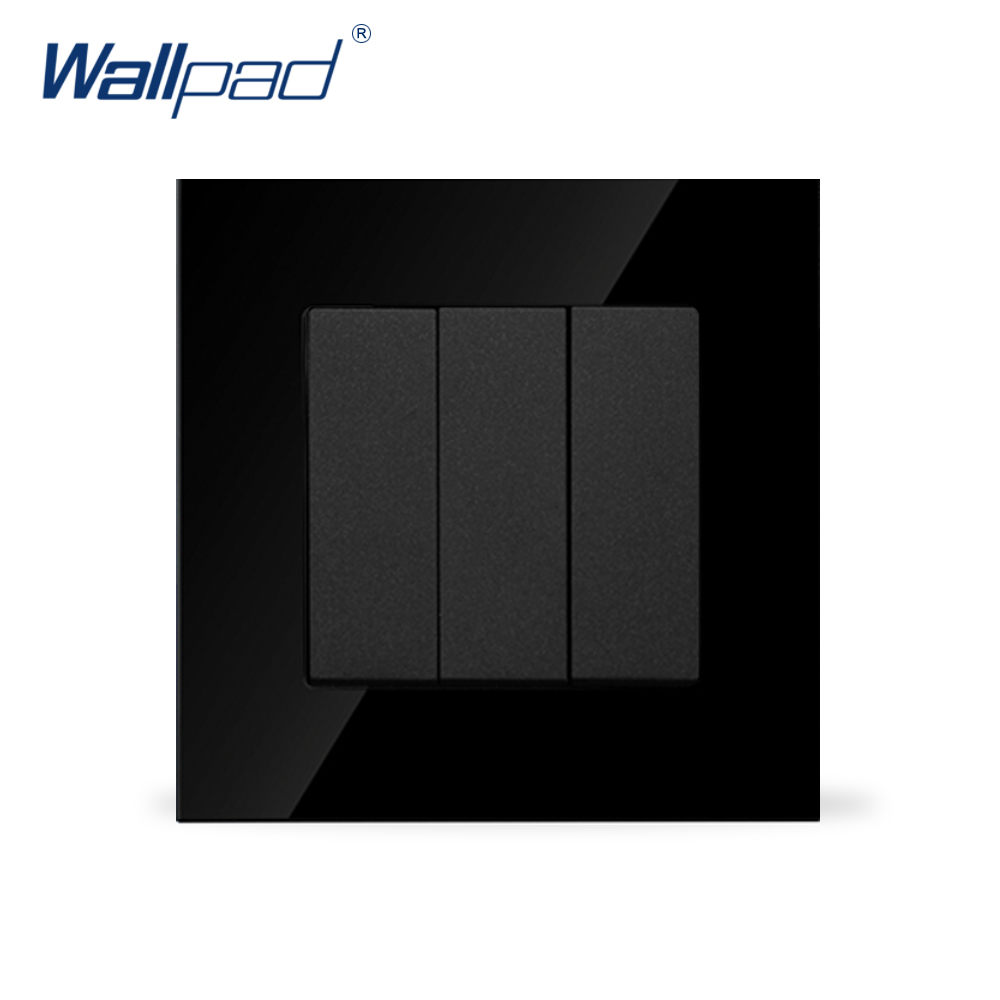 Wallpad Luxury 3 Gang 2 Way Black Crystal Glass 86*86mm Push Button Wall Power Light Switch ,Free Shipping 10a universal socket and 3 gang 1 way switch wallpad 146 86mm white crystal glass 3 push button switch and socket free shipping