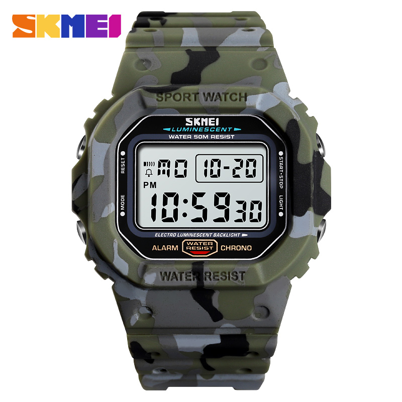 SKMEI Men Casual Sport Digital Watches Camo Waterproof Electronic Wristwatches Denim Style Fashion Lover Watch Relogio Masculino