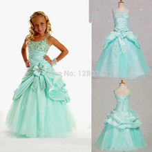2017 Girls Pageant Dresses A-line Spaghetti Straps  Mint Taffeta Flower Girl Dresses Girls Party Gowns