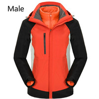 Outdoor cold proof thermal shock jacket can be stripped down feather inner bladder two sets of men and women mountain ski wear