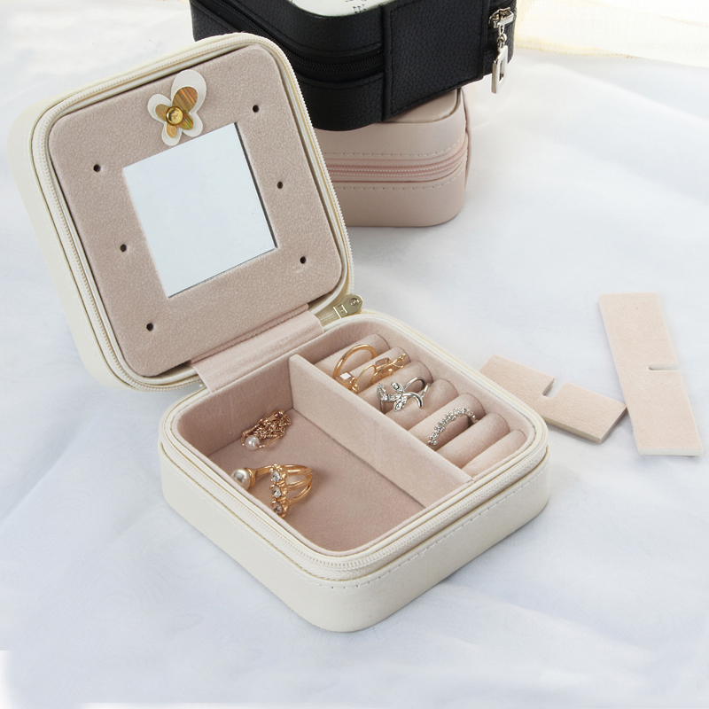 GLHGJP Fashion PU Leather Travel Jewelry Organizer Box Cosmetic Case Jewelry Packaging Box Earrings Storage Case Container