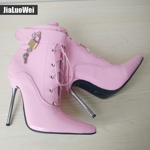 Image 5 - jialuowei 2018 Women Pointed Toe Ankle Strap Boot Lady Cross tied 12C Metal Thin High Heels Sexy Fetish Padlocks Lockable Boots