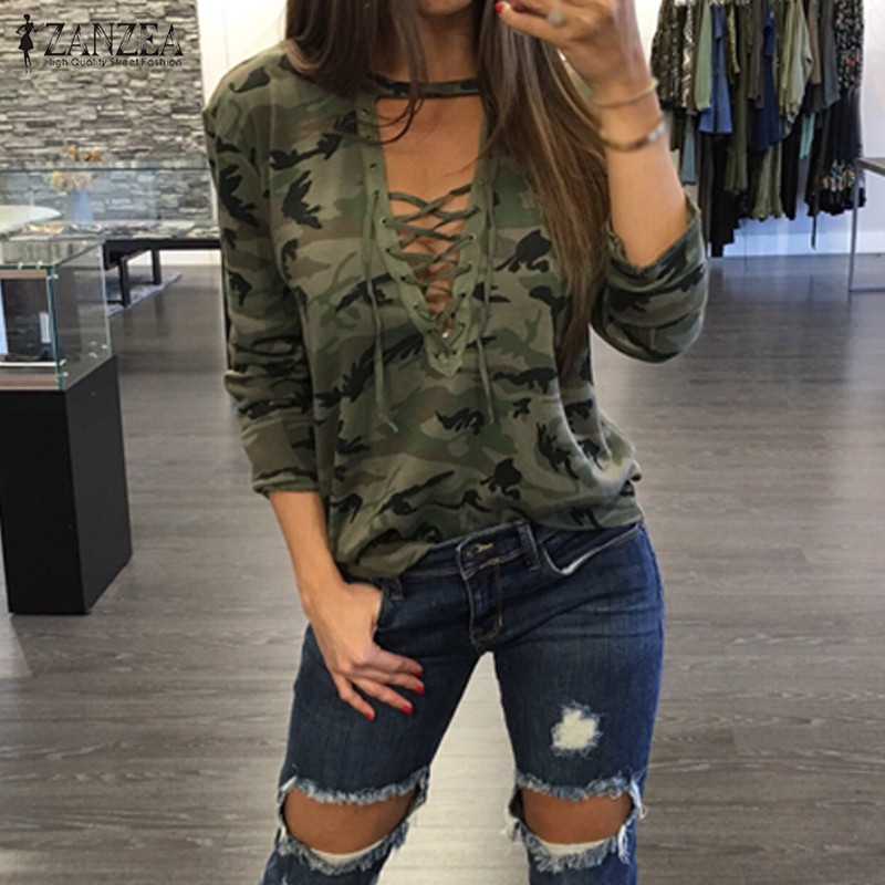 Oversized 2019 ZANZEA Women Sexy   Blouses     Shirts   Long Sleeve Hollow Out Lace Up V Neck Blusas Casual Camouflage Print Tops