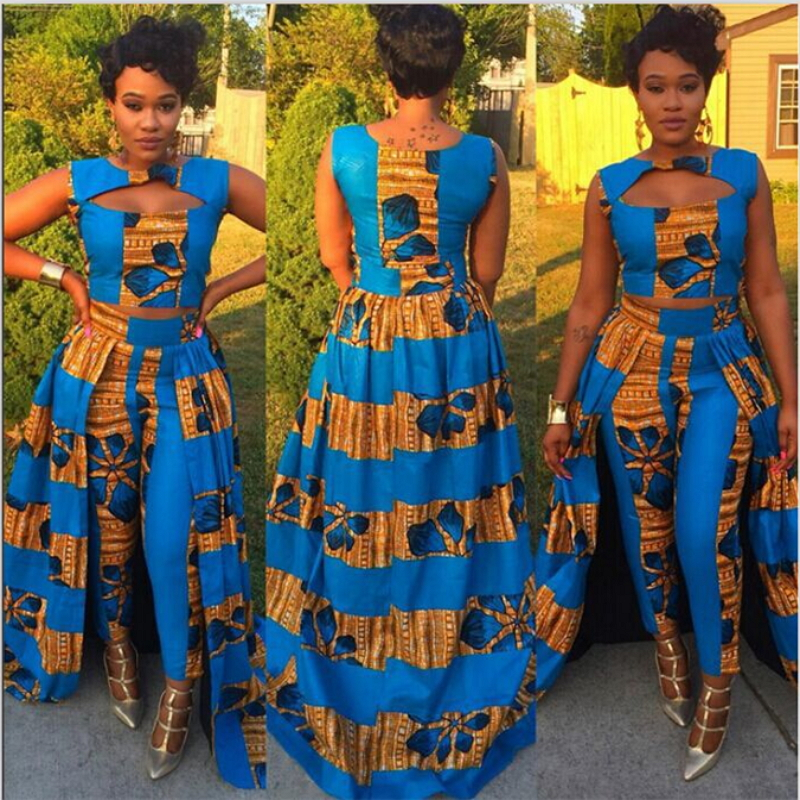 African Women Fashion: 2018 Summer African Style Dashiki Two Piece Set Women