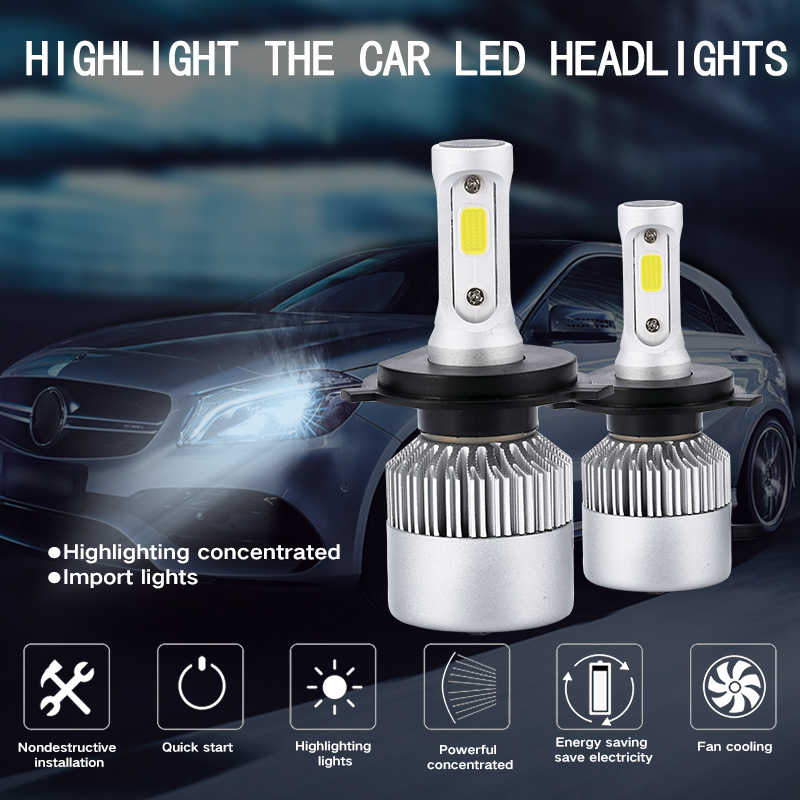 S2 Headlight LED H1 H3 H7 H11 H13 9004 9005 9006 36W 8000LM Automatic Headlamp Light Car Bulb Headlights 1PC 9-32W LED Light