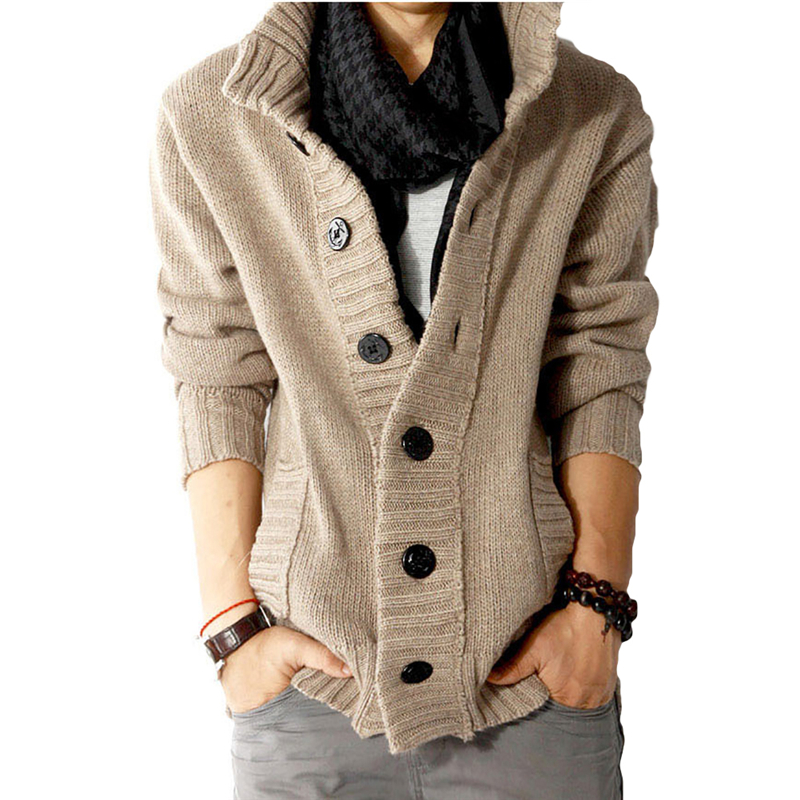 New 2017 Mens slim fit Polo cardigan sweaters thick button knitted cardigan slim wool Casual men