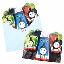6pc/set Cartoon Thomas And His Friends Invitation Card Childrens Birthday Party Supplies Event Decoration Kids Fovers
