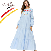 fc9705b098ed ArtSu 2018 Autumn Women Casual Long Sleeve A Line Oversized Dress Retro  Ethnic Floral Embroidery Maxi