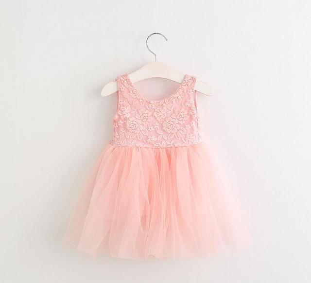 b9a49b75905b 2017 детские кружевные Бисер сетки летние платья принцессы для девочек  розовый жилет платье феи 5 штук