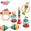 DANNIQITE 2016 New Baby Rattle Toys Cartoon Animal Hand Bells Wooden Baby Toy High Quality Newborn Gift