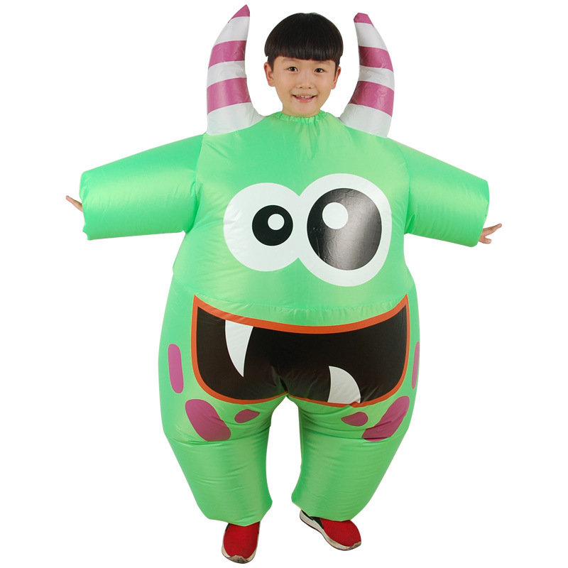 Green Monster Anime Kids Cosplay Costumes Boy Girl Inflatable Garment Halloween Christmas Party Children Clothes Blow Up Disfraz