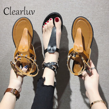 Women Sandals Soft Leather Gladiator Casual Summer Shoes Female Flat Plus Size 34-40 Beach  women