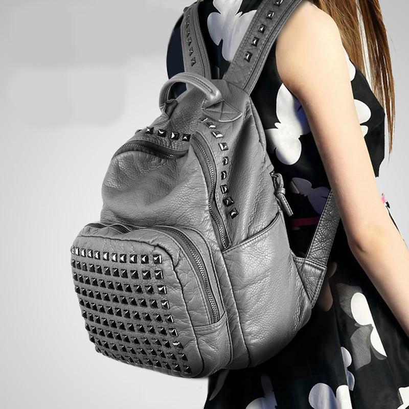 Vintage Backpack High Quality Soft Leather Women Rivet Backpack Female Casual Backpack Black Gray 2018