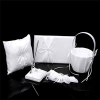 6PCS Wedding Guest kits With Book Pen Set Ring Bearer Pillow Flower Girl Basket Garter For Gifts Party & Holiday DIY