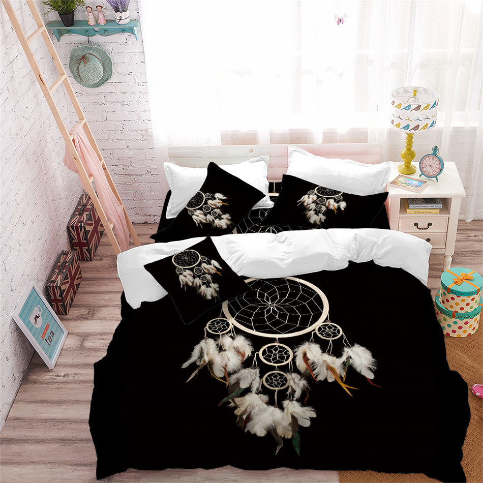 Boho Quilt Covers Australia Dream Catcher Bedding Set Boho Feather Print Duvet Cover Set Black