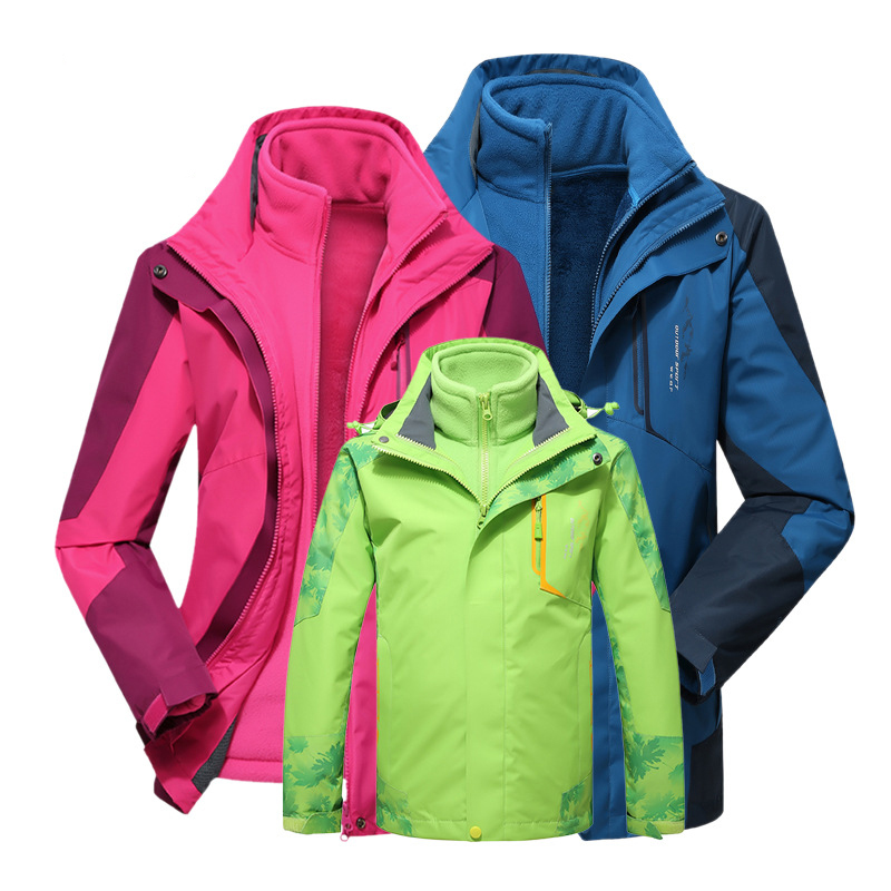 ФОТО Rain Jacket Climbing Winter Parent Child Outdoor Ski-Wear Two-Piece 3 In 1 Charge Parent-Child Clothing Family Hiking Jackets