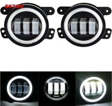 цены SKTOO 2pcs White Round fog lights lens Projector 30w led 4 inch Front bumper fog lights For Offroad Jeep Wrangler Dodge Chrysler