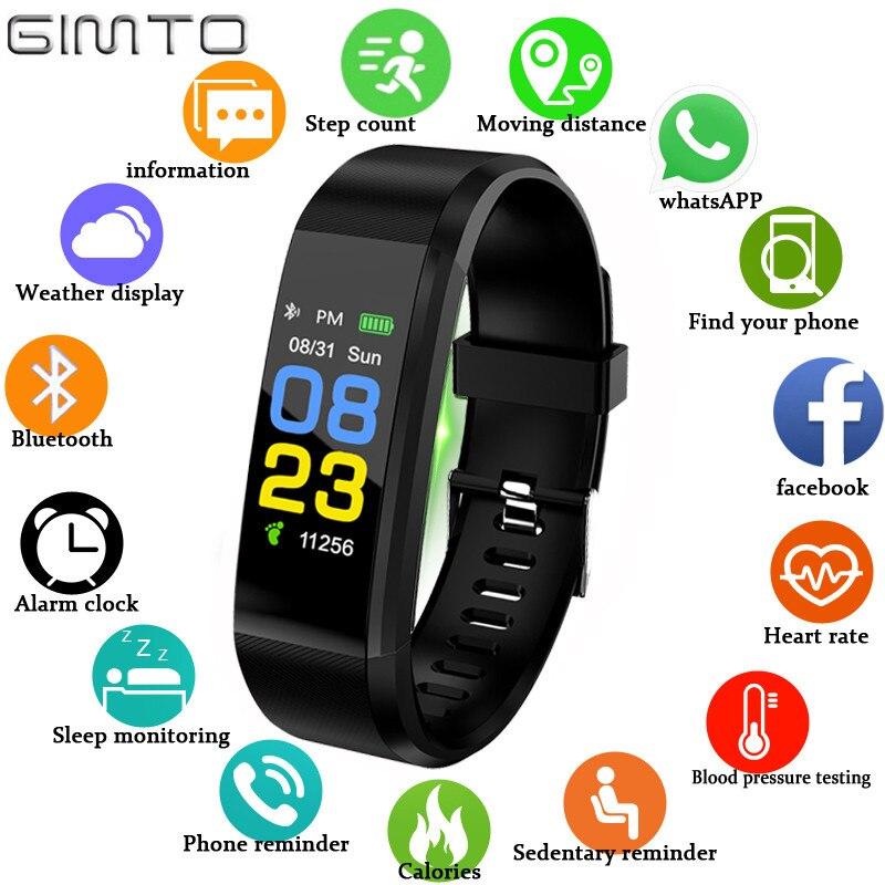GIMTO más de 115 hombres y mujeres pulsera inteligente impermeable reloj deportivo de Bluetooth de la presión arterial de Monitor de sueño para Android iOS