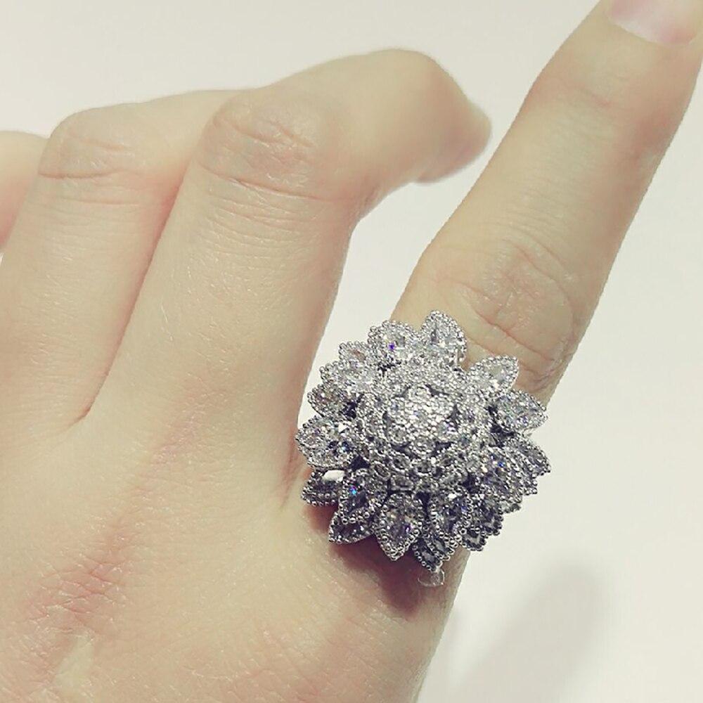 K's Gadgets Big Austrian Crystal Ring Cubic Zirconia Rings For Women Sun Flower Type Trendy Fashion Rings Jewelry Bijouterie