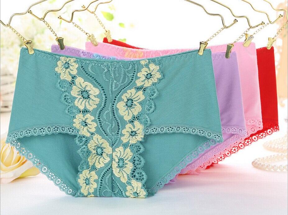 Frete Grátis A nova roupa interior feminina sexy lace pansy colorido feng  em fibra de Bambu calcinha de cintura  7166 f1af5e9c1a7