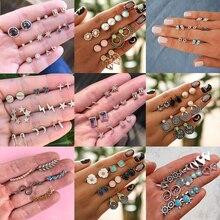 Vintage Geometric Stud Earrings Set For Women Girls 2019 Fashion crustal Flower shell Small Earrings Boucle d'oreille Femme недорго, оригинальная цена