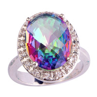 lingmei Noble Fashion Jewelry Unisex Mystic Rainbow Topaz & White Topaz  Silver Ring Size 7 8 9 10 For Women Gift Wholesale