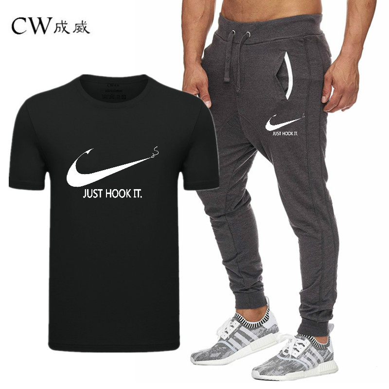 HTB1arCwVwHqK1RjSZJnq6zNLpXaB 2019 Quality Men T Shirt Sets+pants men Brand clothing Two piece suit tracksuit Fashion Casual Tshirts Gyms Workout Fitness Sets