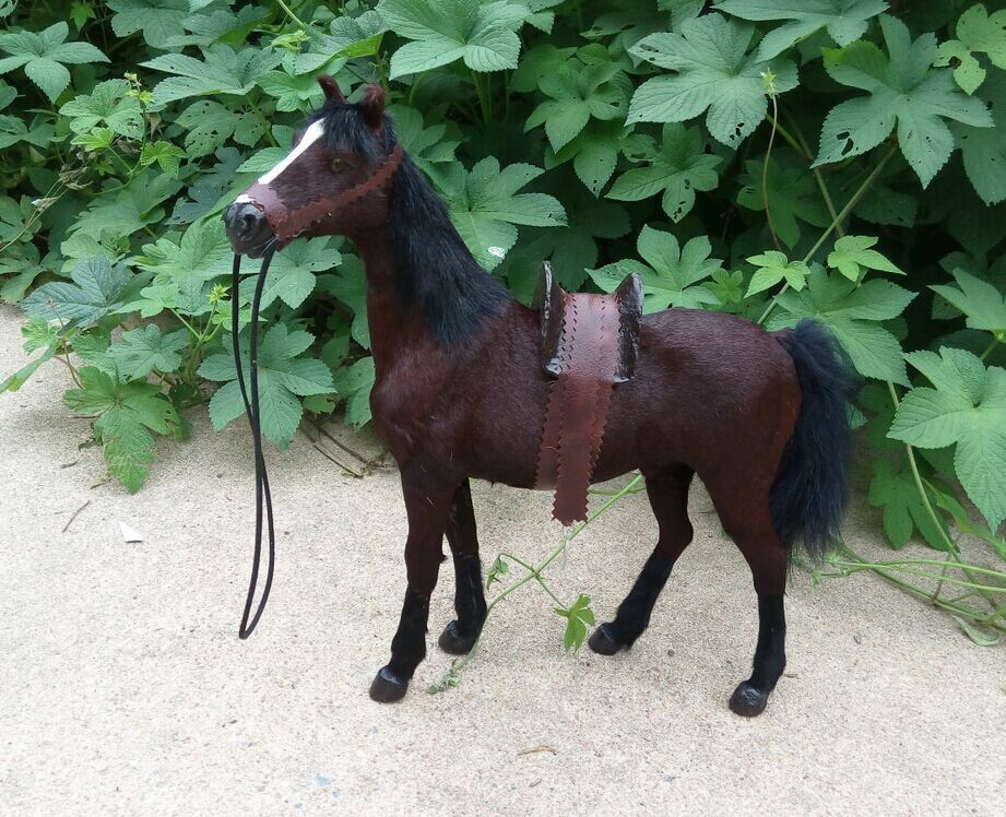 beautiful simulation 1:6 brown war horse toy lifelike blood horse Furnishing articles gift about 36x34cm цена и фото