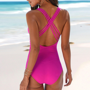 Image 2 - Peachtan V neck swimsuit one piece Sexy bikini 2019 new Summer high cut swimwear women bathing suit Monokini beach wear bathers