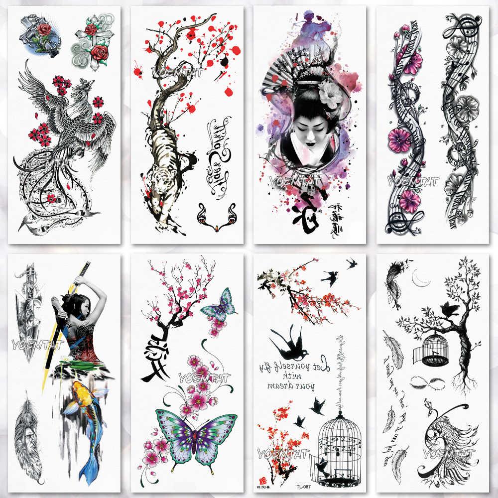 559e5b84d Temporary Tattoo Sticker Waterproof Fashion Women men Japanese geisha warrior  samurai Fake Body Art Children Adult