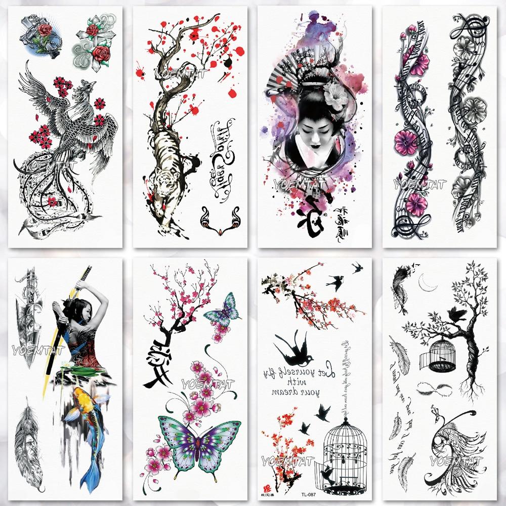 Temporary Tattoo Sticker Waterproof  Fashion Women Men Japanese Geisha Warrior Samurai Fake Body Art Children Adult Hand Tattoo