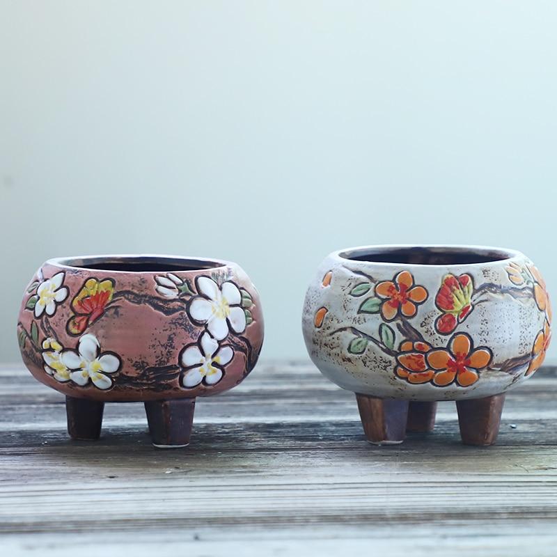 Suculento vaso de flores respirável pintados à