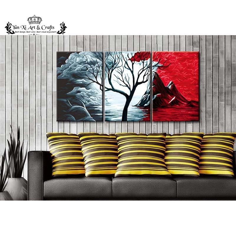3 paneles venta caliente hielo y fuego árbol decoración de pared ...