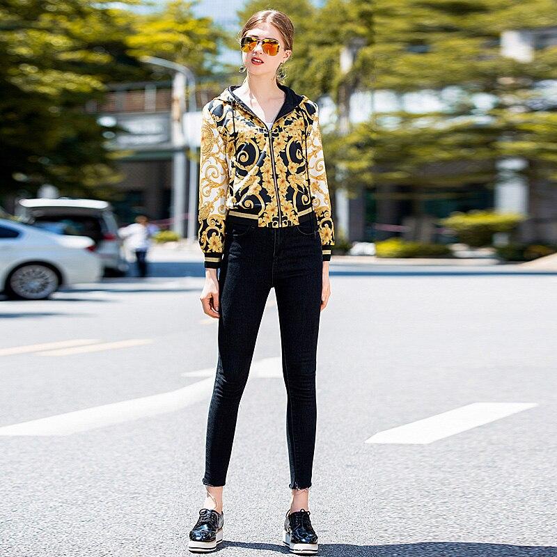 Coat Milan Runway High Quality 2018 Autumn New Women'S Fashion Party Boho Beach  Vintage Elegant Chic Print Long Sleeve Jacket