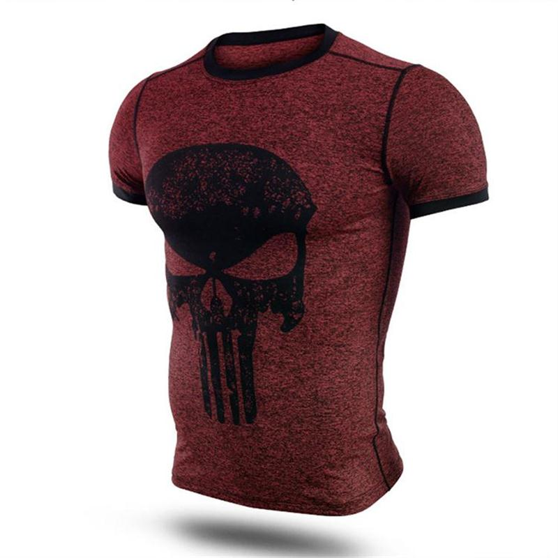 New fitness compression shirt men punisher skull t shirt superhero bodybuilding tight short sleeve t shirt brand clothing tops-2
