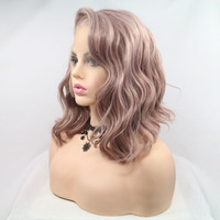 Fantasy Beauty Dusty Rose Gold Bob Cut Short Wavy Heat Resistant Fiber Synthetic Lace Front Short Wigs For Women Replacement Wig
